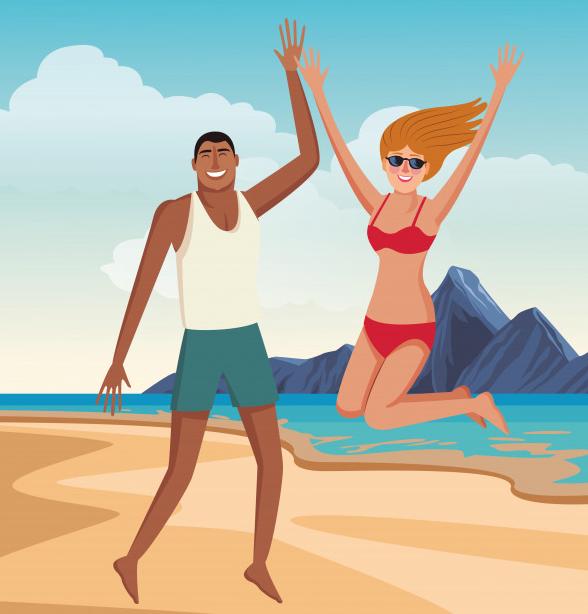 Couple Heureux Dans Les Dessins Animés De L'été Vecteur gratuit